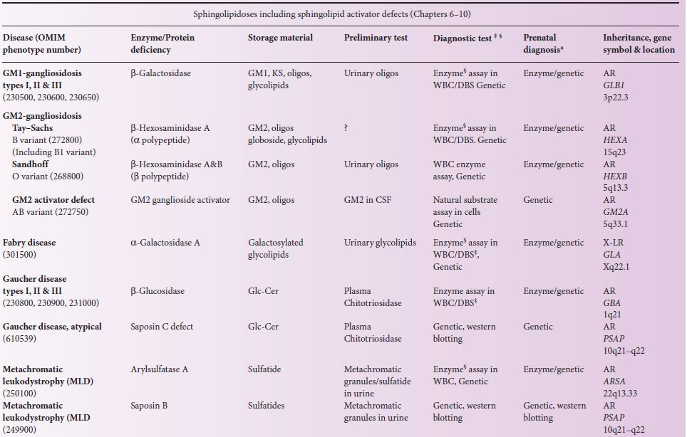 Table 5 1 Clification Of Lysosomal Storage Diseases